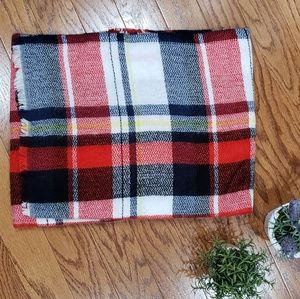 New Plaid Blanket Scarf Fringed Ends Red Black